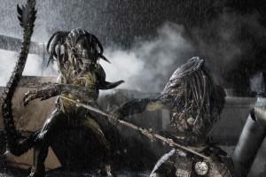 (l to r) The PredAlien and a Predator face off in Aliens vs Predator- Requiem.